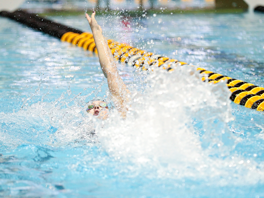 Iowa's Emilia Sansome swims the backstroke section of the women's 400 yard medley relay event during the 2020 Women's Big Ten Swimming and Diving Championships at the Campus Recreation and Wellness Center in Iowa City on Thursday, February 20, 2020. (Stephen Mally/hawkeyesports.com)