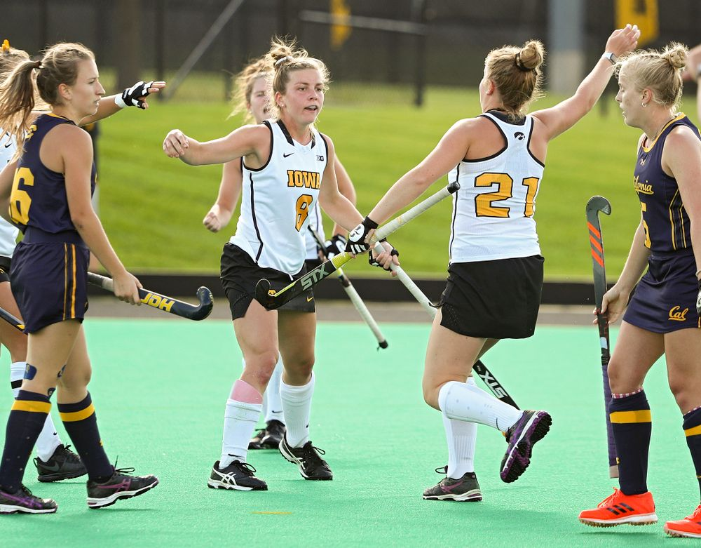Iowa's Nikki Freeman (8) and Makenna Maguire (21) celebrate after Freeman's goal during the third quarter of their game at Grant Field in Iowa City on Friday, Sep 13, 2019. (Stephen Mally/hawkeyesports.com)