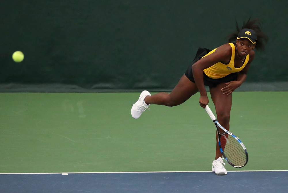 Adorabol Huckleby serves in a singles match during the second day of the ITA Central Regional Championships at the Hawkeye Tennis and Recreation Complex on October 13, 2018. (Tork Mason/hawkeyesports.com)