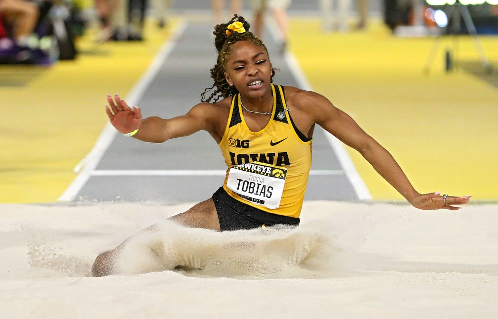 Iowa's Tionna Tobias competes in the women's long jump event during the Hawkeye Invitational at the Recreation Building in Iowa City on Saturday, January 11, 2020. (Stephen Mally/hawkeyesports.com)