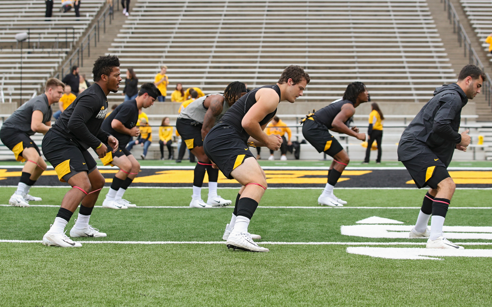 Iowa Hawkeyes players warm up before their game at Kinnick Stadium in Iowa City on Saturday, Sep 28, 2019. (Stephen Mally/hawkeyesports.com)
