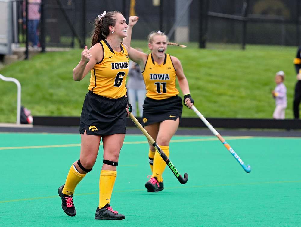 Iowa's Anthe Nijziel (6) celebrates with Katie Birch (11) after Nijziel scored a goal during the third quarter of their game against UC Davis at Grant Field in Iowa City on Sunday, Oct 6, 2019. (Stephen Mally/hawkeyesports.com)