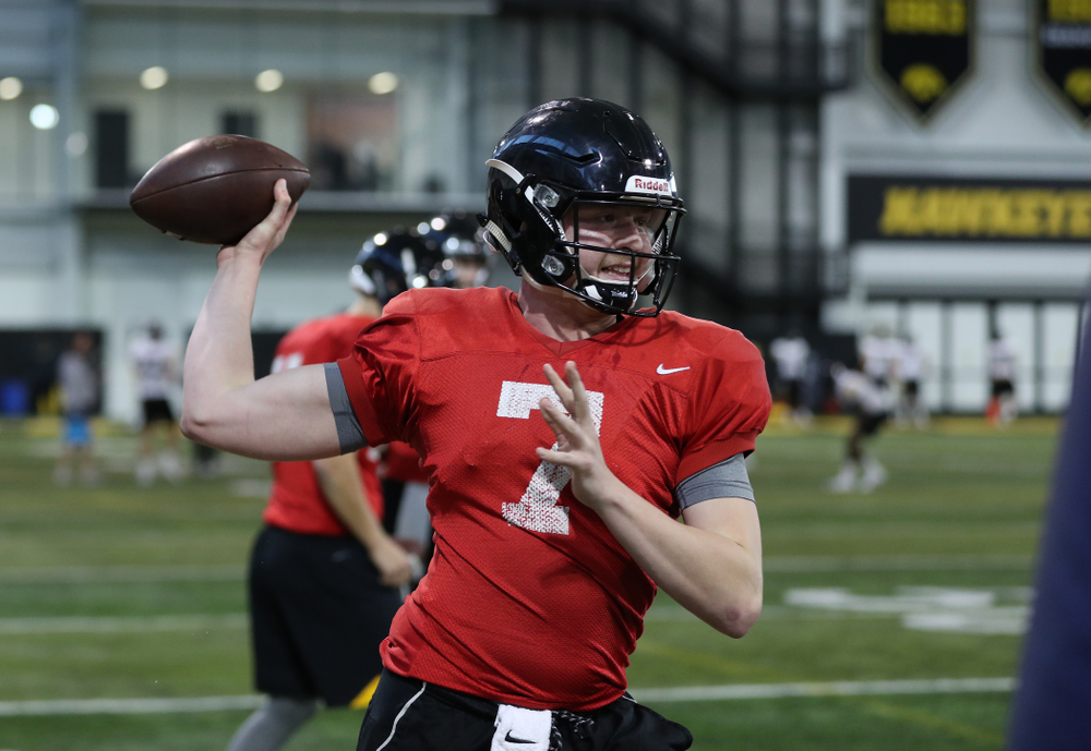 Iowa Hawkeyes quarterback Spencer Petras (7) during preparation for the 2019 Outback Bowl Monday, December 17, 2018 at the Hansen Football Performance Center. (Brian Ray/hawkeyesports.com)