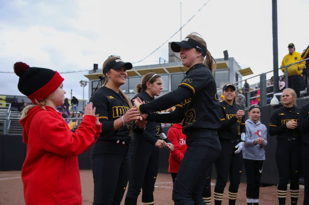 Iowa's Hallie Ketcham (22) at game 2 vs Northwestern on Saturday, March 30, 2019 at Bob Pearl Field. (Lily Smith/hawkeyesports.com)
