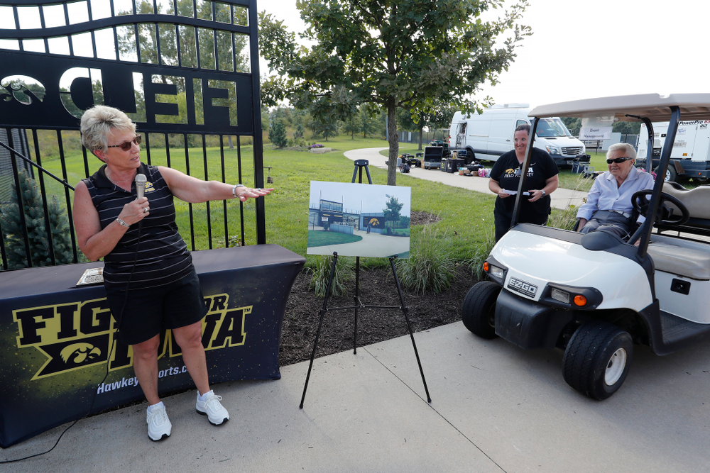Deputy Athletics Director Barbara Burke talks about the plans for the new entrance to Grant Field following the Iowa Hawkeyes game against Indiana Sunday, September 16, 2018 at Grant Field. (Brian Ray/hawkeyesports.com)