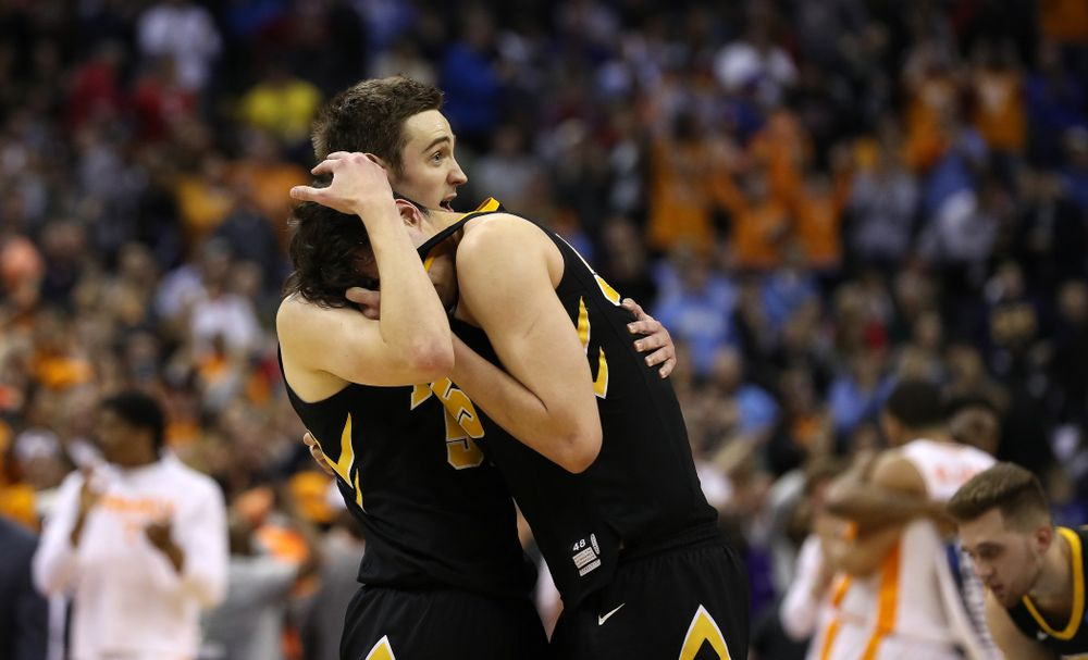 Iowa Hawkeyes forward Nicholas Baer (51) and forward Luka Garza (55) against the Tennessee Volunteers in the second round of the 2019 NCAA Men's Basketball Tournament Sunday, March 24, 2019 at Nationwide Arena in Columbus, Ohio. (Brian Ray/hawkeyesports.com)