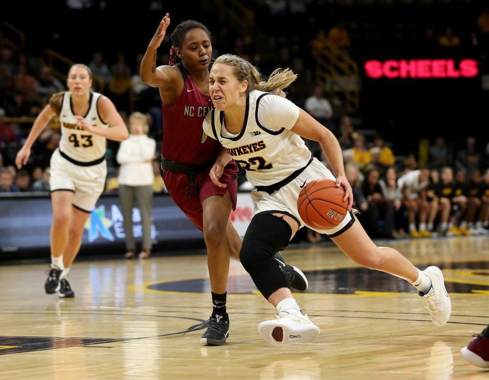 Iowa Hawkeyes guard Kathleen Doyle (22) against North Carolina Central Saturday, December 14, 2019 at Carver-Hawkeye Arena. (Brian Ray/hawkeyesports.com)