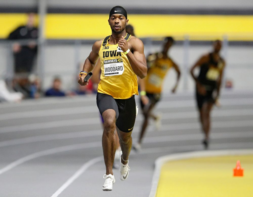Iowa's Antonio Woodard runs the men's 1600 meter relay event during the Hawkeye Invitational at the Recreation Building in Iowa City on Saturday, January 11, 2020. (Stephen Mally/hawkeyesports.com)