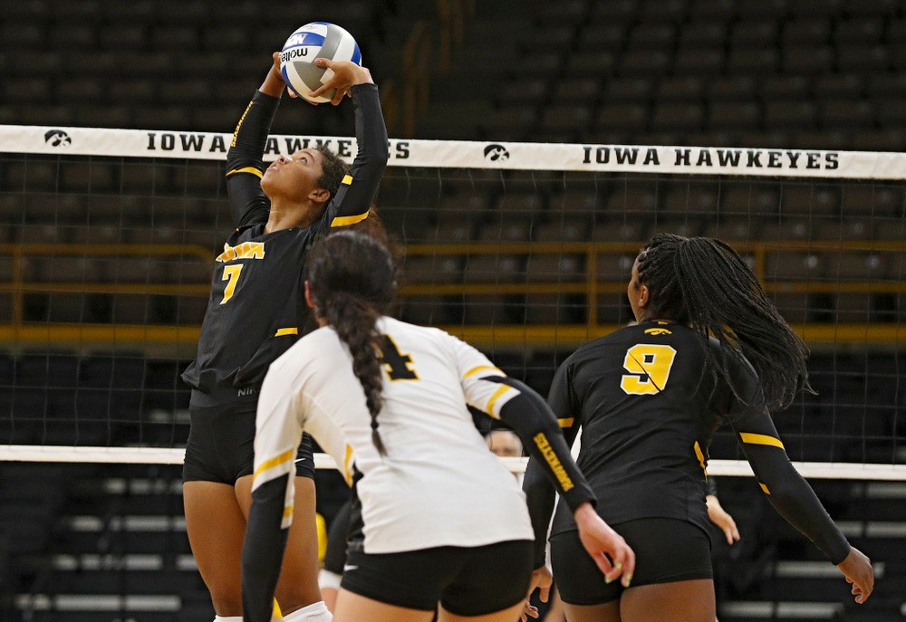 Iowa's Brie Orr (7) during the first set of the Black and Gold scrimmage at Carver-Hawkeye Arena in Iowa City on Saturday, Aug 24, 2019. (Stephen Mally/hawkeyesports.com)