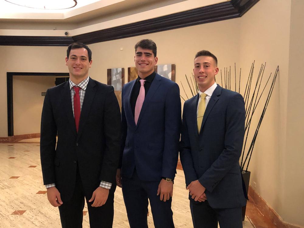 Ryan Kriener, Luka Garza, Joe Wieskamp 2019 B1G Media Day Oct. 2, 2019