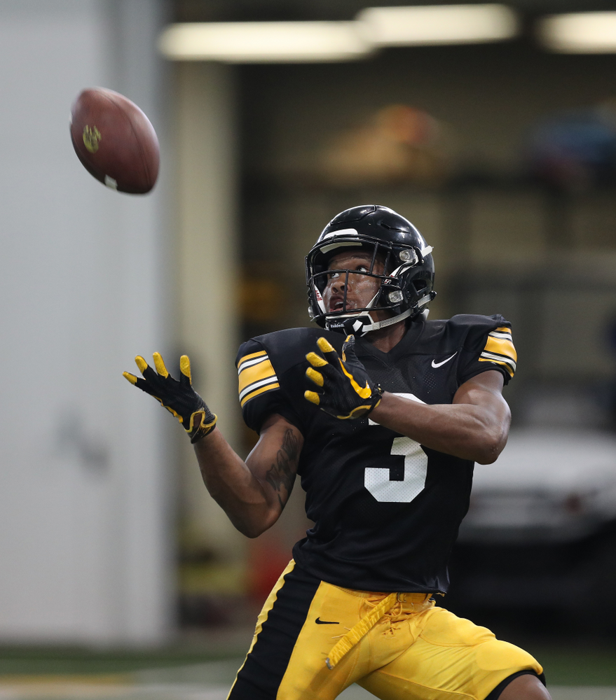 Iowa Hawkeyes wide receiver Tyrone Tracy Jr. (3) During Fall Camp Practice No. 6 Thursday, August 8, 2019 at the Ronald D. and Margaret L. Kenyon Football Practice Facility. (Brian Ray/hawkeyesports.com)