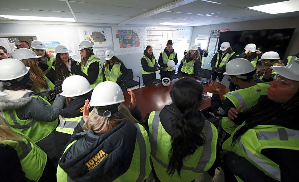 The Iowa Volleyball team and staff puts on personal protective equipment as they prepare to take a construction tour of Xtream Arena in Coralville on Thursday, January 30, 2020. (Stephen Mally/hawkeyesports.com)