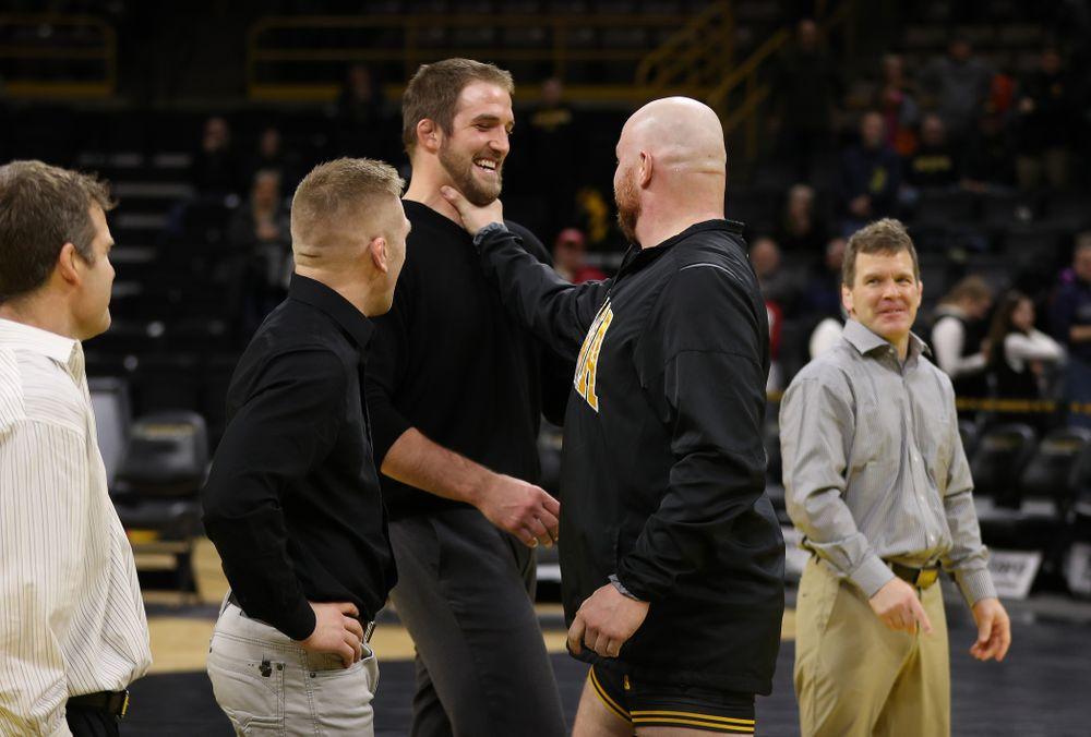 Iowa senior Sam Stoll during senior night following their meet against the Indiana Hoosiers Friday, February 15, 2019 at Carver-Hawkeye Arena. (Brian Ray/hawkeyesports.com)