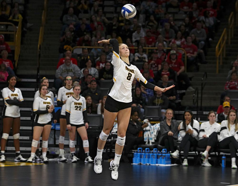 Iowa's Kyndra Hansen (8) serves during the second set of their match against Nebraska at Carver-Hawkeye Arena in Iowa City on Saturday, Nov 9, 2019. (Stephen Mally/hawkeyesports.com)