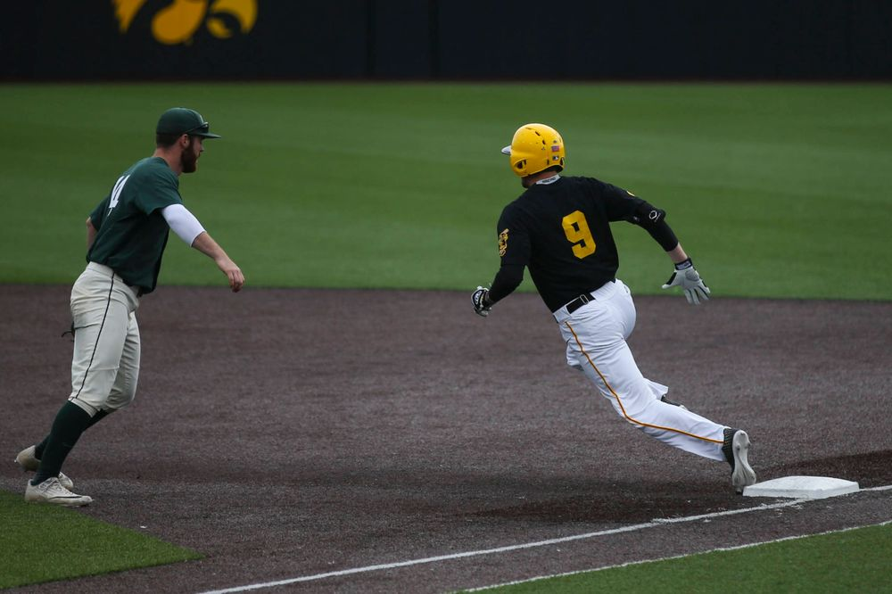 Iowa outfielder Ben Norman (9) at baseball vs Michigan State at Duane Banks Field on Saturday, May 11, 2019. (Lily Smith/hawkeyesports.com)