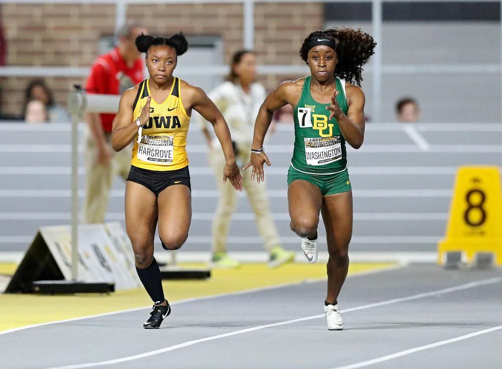 Iowa's Lasarah Hargrove runs the women's 60 meter dash premier event during the Larry Wieczorek Invitational at the Recreation Building in Iowa City on Saturday, January 18, 2020. (Stephen Mally/hawkeyesports.com)