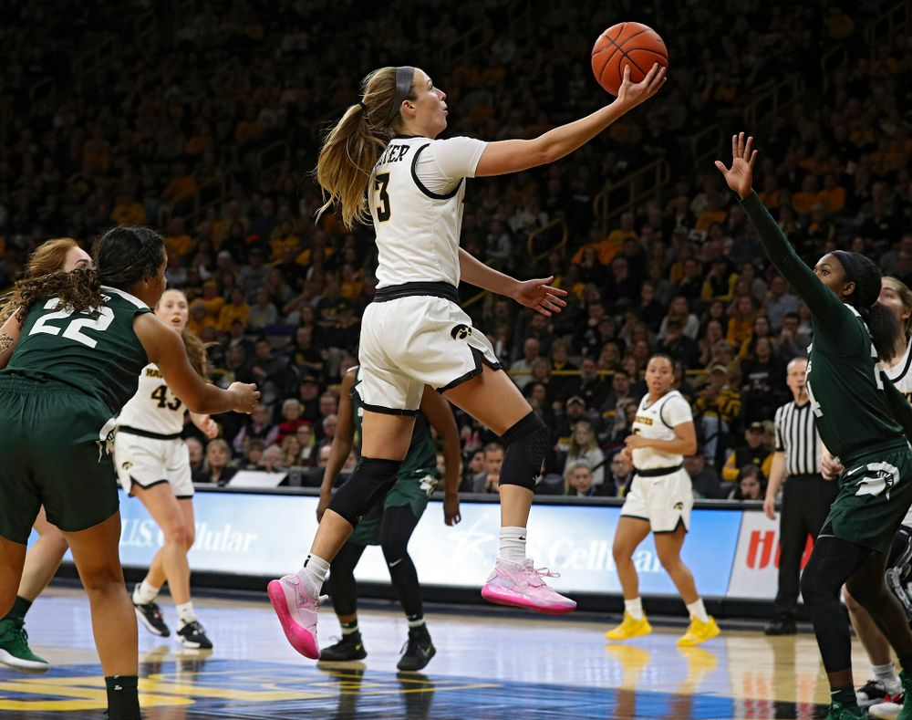 Iowa Hawkeyes guard Makenzie Meyer (3) puts up a shot during the third quarter of their game at Carver-Hawkeye Arena in Iowa City on Sunday, January 26, 2020. (Stephen Mally/hawkeyesports.com)