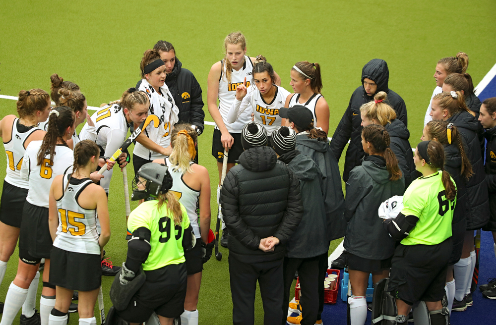 Iowa head coach Lisa Cellucci talks with her team during the third quarter of their NCAA Tournament First Round match against Duke at Karen Shelton Stadium in Chapel Hill, N.C. on Friday, Nov 15, 2019. (Stephen Mally/hawkeyesports.com)