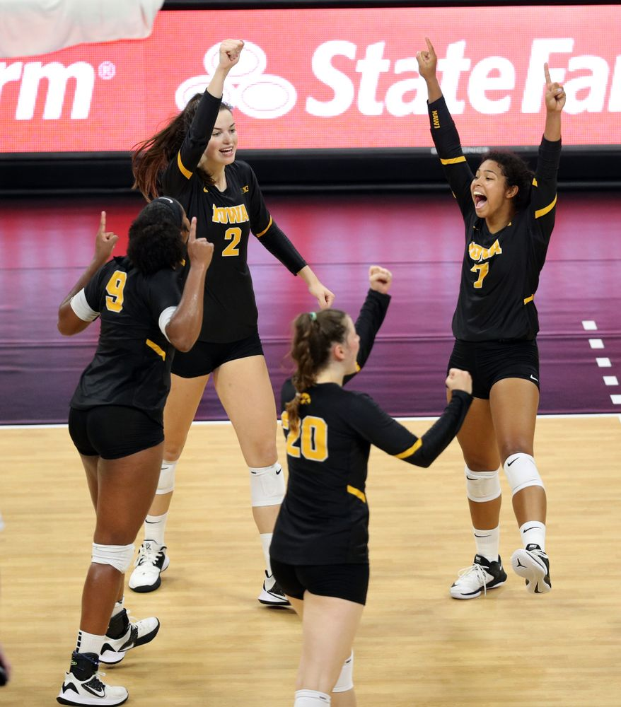Iowa Hawkeyes setter Courtney Buzzerio (2) and setter Brie Orr (7) against the Iowa State Cyclones Saturday, September 21, 2019 at Carver-Hawkeye Arena. (Brian Ray/hawkeyesports.com)