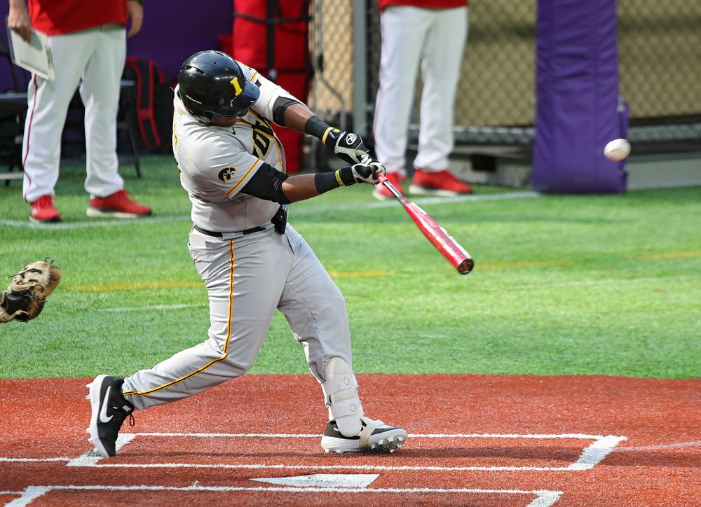 Iowa Hawkeyes infielder Izaya Fullard (20) bats during the fourth inning of their CambriaCollegeClassic game at U.S. Bank Stadium in Minneapolis, Minn. on Friday, February 28, 2020. (Stephen Mally/hawkeyesports.com)