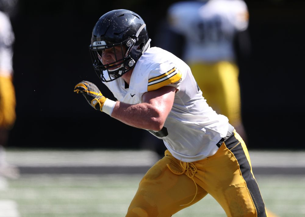 Iowa Hawkeyes linebacker Dillon Doyle (43) during Fall Camp Practice No. 5 Tuesday, August 6, 2019 at the Ronald D. and Margaret L. Kenyon Football Practice Facility. (Brian Ray/hawkeyesports.com)