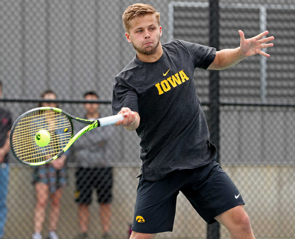 Iowa's Will Davies competes during a double match against Ohio State at the Hawkeye Tennis and Recreation Complex in Iowa City on Sunday, Apr. 7, 2019. (Stephen Mally/hawkeyesports.com)