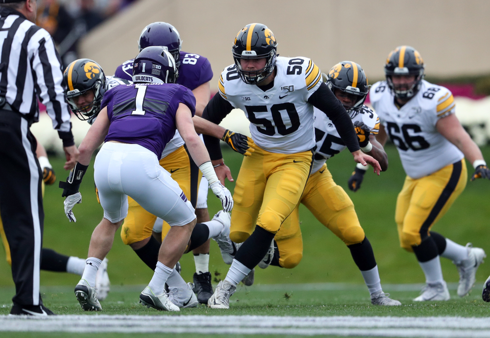 Iowa Hawkeyes long snapper Jackson Subbert (50) against the Northwestern Wildcats Saturday, October 26, 2019 at Ryan Field in Evanston, Ill. (Brian Ray/hawkeyesports.com)