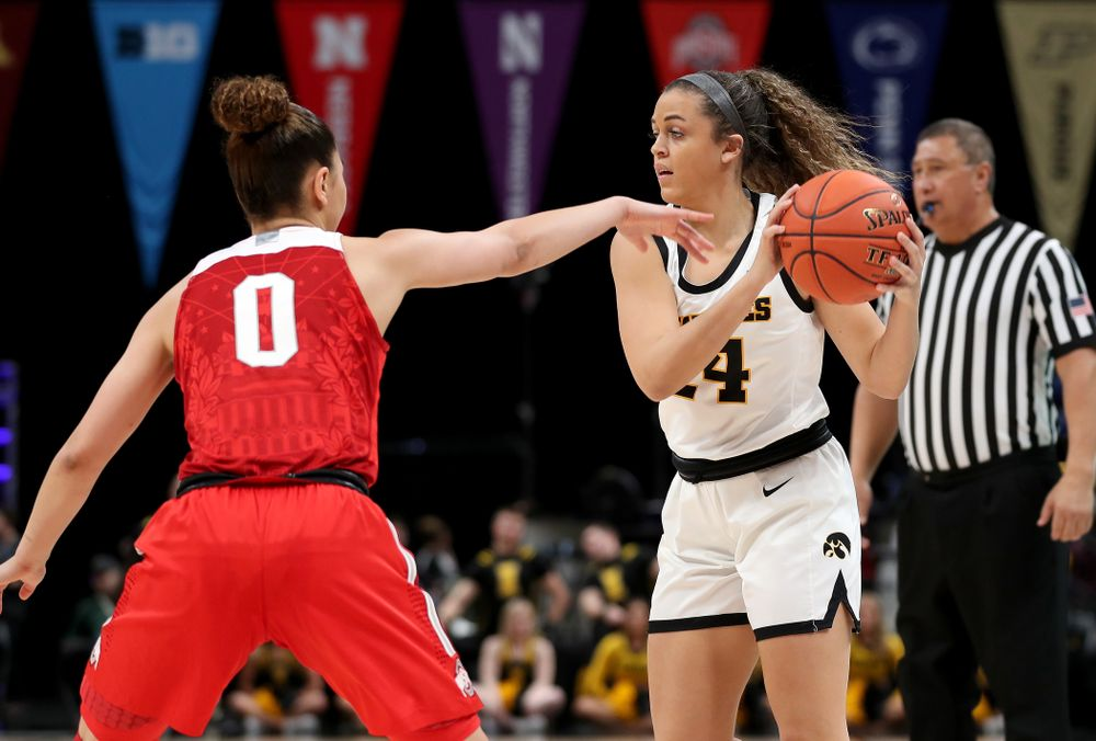 Iowa Hawkeyes guard Gabbie Marshall (24) against Ohio State in the quarterfinals of the Big Ten Basketball Tournament Friday, March 6, 2020 at Bankers Life Fieldhouse in Indianapolis. (Brian Ray/hawkeyesports.com)