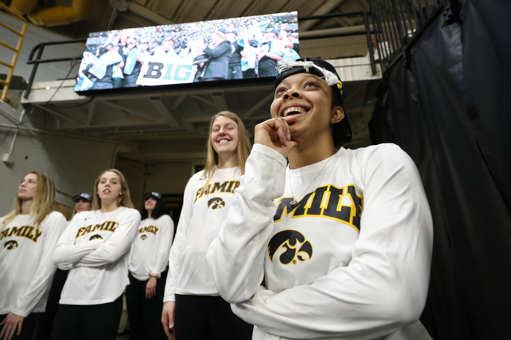 Iowa Hawkeyes guard Tania Davis (11) during a celebration of their Big Ten Women's Basketball Tournament championship Monday, March 18, 2019 at Carver-Hawkeye Arena. (Brian Ray/hawkeyesports.com)