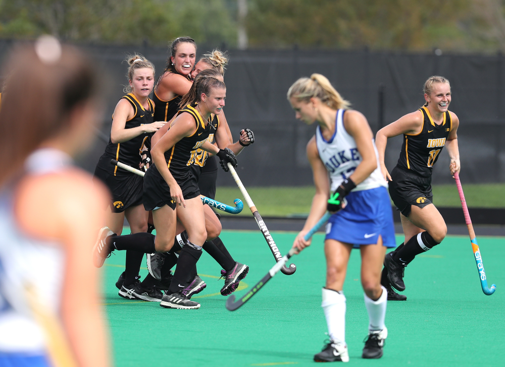 Iowa Hawkeyes defenseman Anthe Nijziel (6) celebrates after scoring against the Duke Blue Devils Sunday, September 15, 2019 at Grant Field.  (Brian Ray/hawkeyesports.com)
