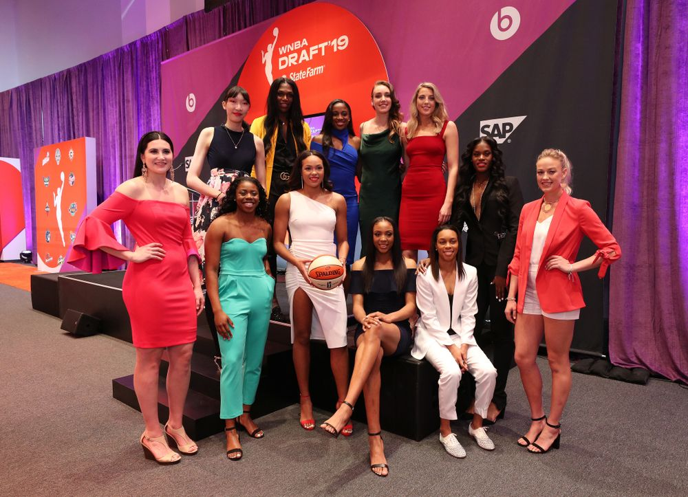 Iowa Hawkeyes forward Megan Gustafson (10) poses for a photos with the other invited draftees before the 2019 WNBA Draft Wednesday, April 10, 2019 at Nike New York Headquarters in New York City. (Brian Ray/hawkeyesports.com)