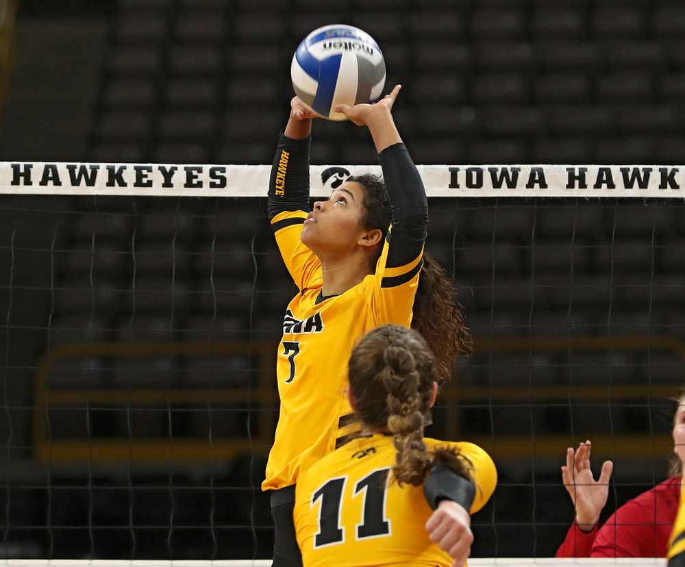 Iowa's Brie Orr (7) sets the ball during their match at Carver-Hawkeye Arena in Iowa City on Sunday, Oct 20, 2019. (Stephen Mally/hawkeyesports.com)