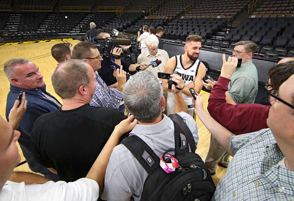 Iowa Hawkeyes guard Jordan Bohannon (3) answers questions during Iowa Men's Basketball Media Day at Carver-Hawkeye Arena in Iowa City on Wednesday, Oct 9, 2019. (Stephen Mally/hawkeyesports.com)