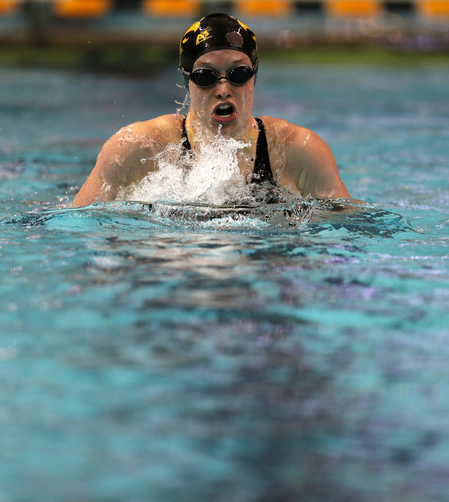 Iowa's Kelsey Drake swims the 200-yard IM against the Iowa State Cyclones in the Iowa Corn Cy-Hawk Series Friday, December 7, 2018 at at the Campus Recreation and Wellness Center. (Brian Ray/hawkeyesports.com)
