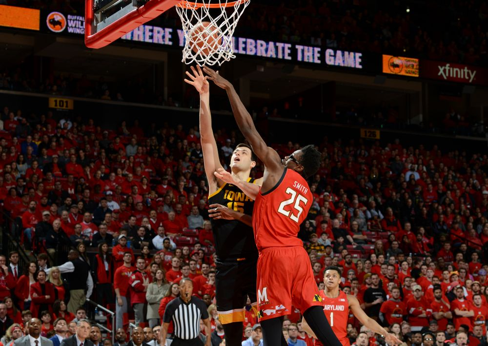 Iowa Hawkeyes forward Ryan Kriener (15) puts up a shot =during their game at the Xfinity Center in College Park, MD on Thursday, January 30, 2020. (University of Maryland Athletics)