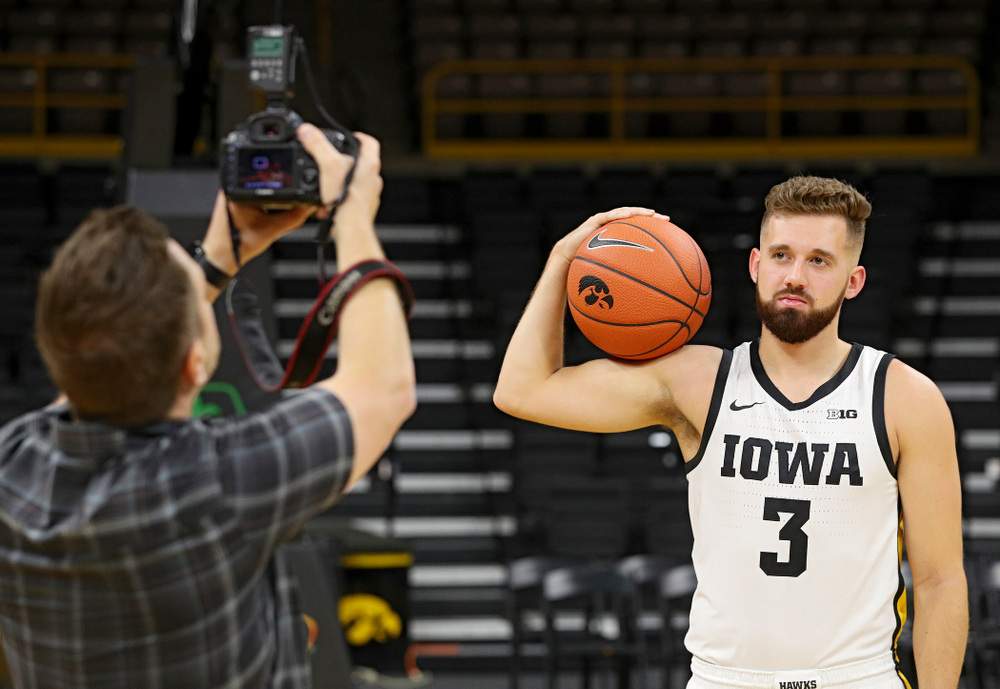 Iowa Hawkeyes guard Jordan Bohannon (3) poses for a photo during Iowa Men's Basketball Media Day at Carver-Hawkeye Arena in Iowa City on Wednesday, Oct 9, 2019. (Stephen Mally/hawkeyesports.com)