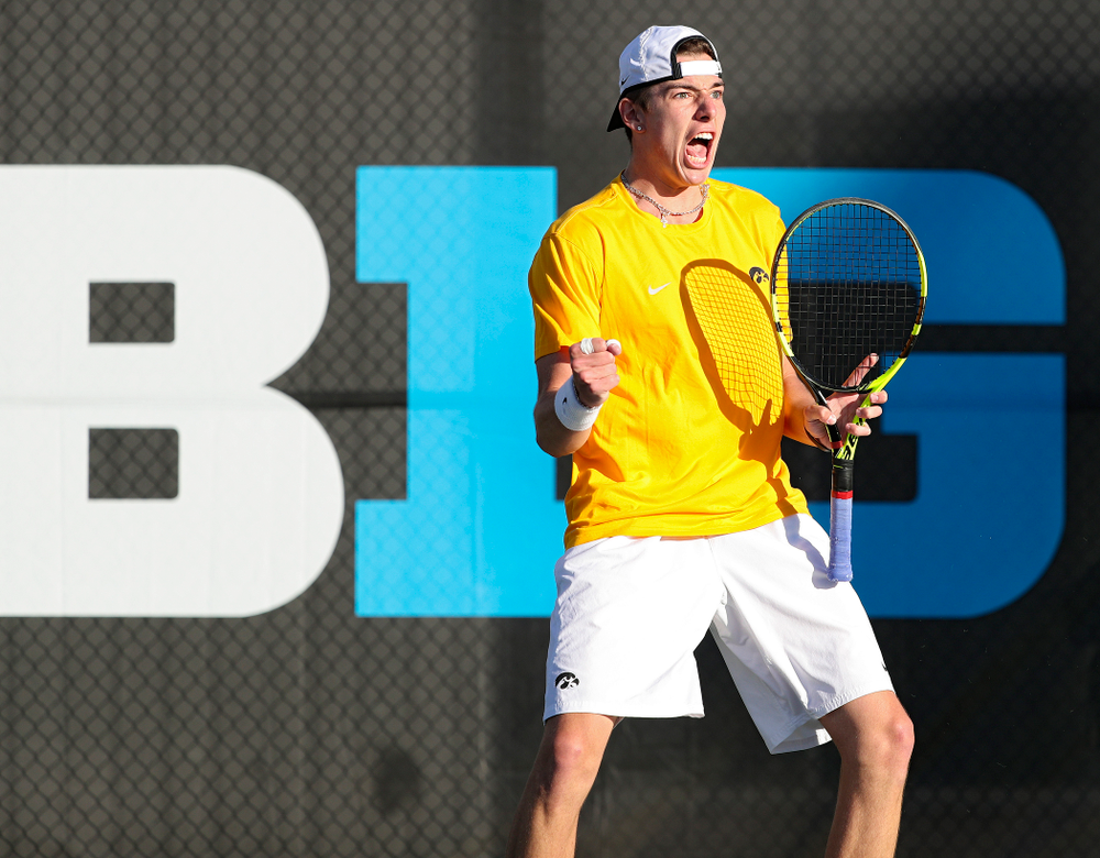 Iowa's Nikita Snezhko celebrates a point during their doubles match again Michigan State at the Hawkeye Tennis and Recreation Complex in Iowa City on Friday, Apr. 19, 2019. (Stephen Mally/hawkeyesports.com)