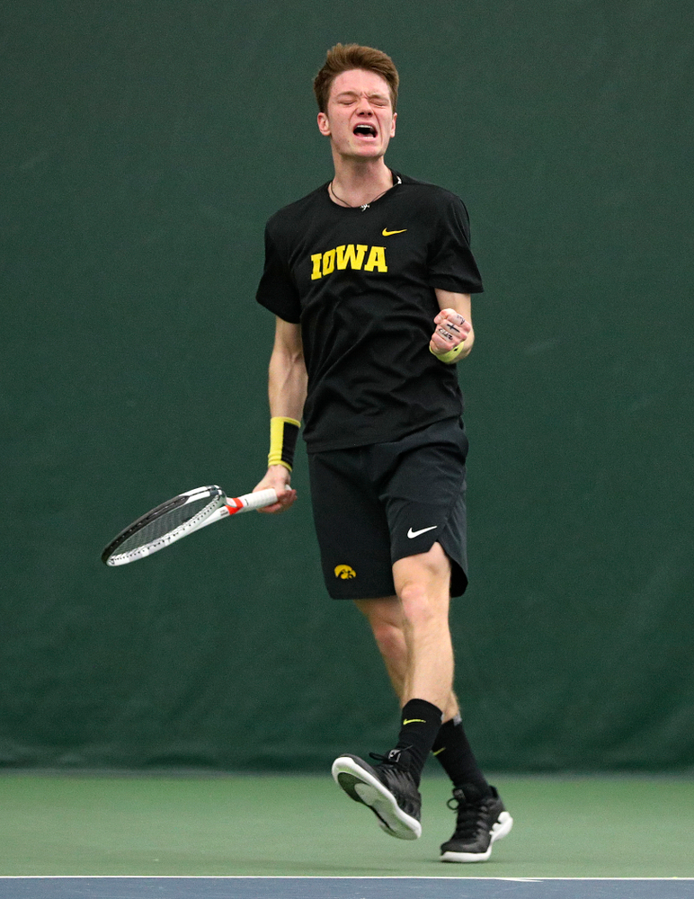 Iowa's Jason Kerst celebrates a point during his singles match at the Hawkeye Tennis and Recreation Complex in Iowa City on Friday, March 6, 2020. (Stephen Mally/hawkeyesports.com)