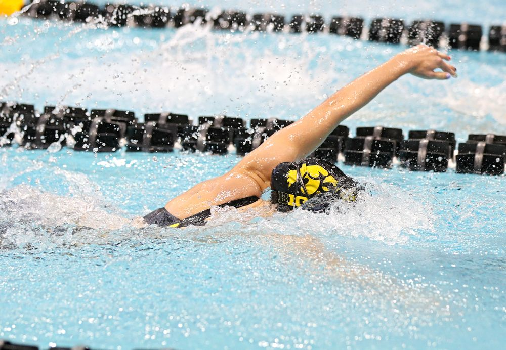 Iowa's Meghan Hackett swims in the women's 100 yard freestyle preliminary event during the 2020 Women's Big Ten Swimming and Diving Championships at the Campus Recreation and Wellness Center in Iowa City on Saturday, February 22, 2020. (Stephen Mally/hawkeyesports.com)