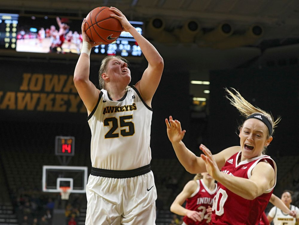 Iowa Hawkeyes forward Monika Czinano (25) scores a basket during the second quarter of their game at Carver-Hawkeye Arena in Iowa City on Sunday, January 12, 2020. (Stephen Mally/hawkeyesports.com)
