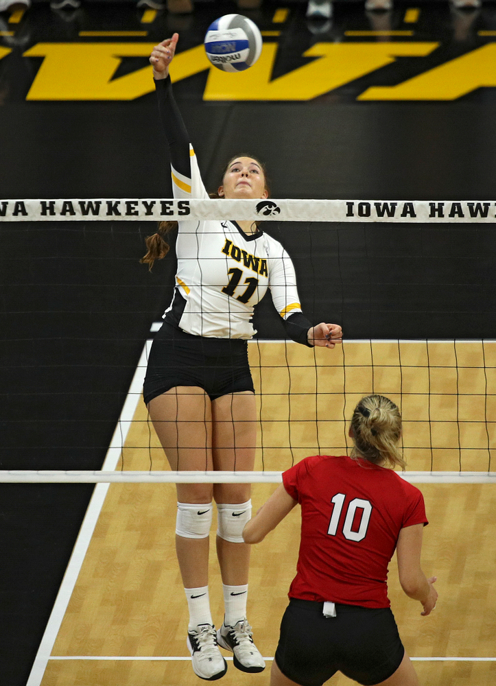Iowa's Blythe Rients (11) lines up a shot during the second set of their match against Nebraska at Carver-Hawkeye Arena in Iowa City on Saturday, Nov 9, 2019. (Stephen Mally/hawkeyesports.com)