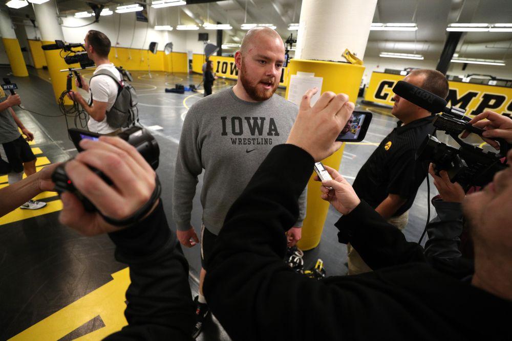 Iowa Hawkeyes All American heavyweight Sam Still during the team's annual media day Monday, November 5, 2018 at Carver-Hawkeye Arena. (Brian Ray/hawkeyesports.com)
