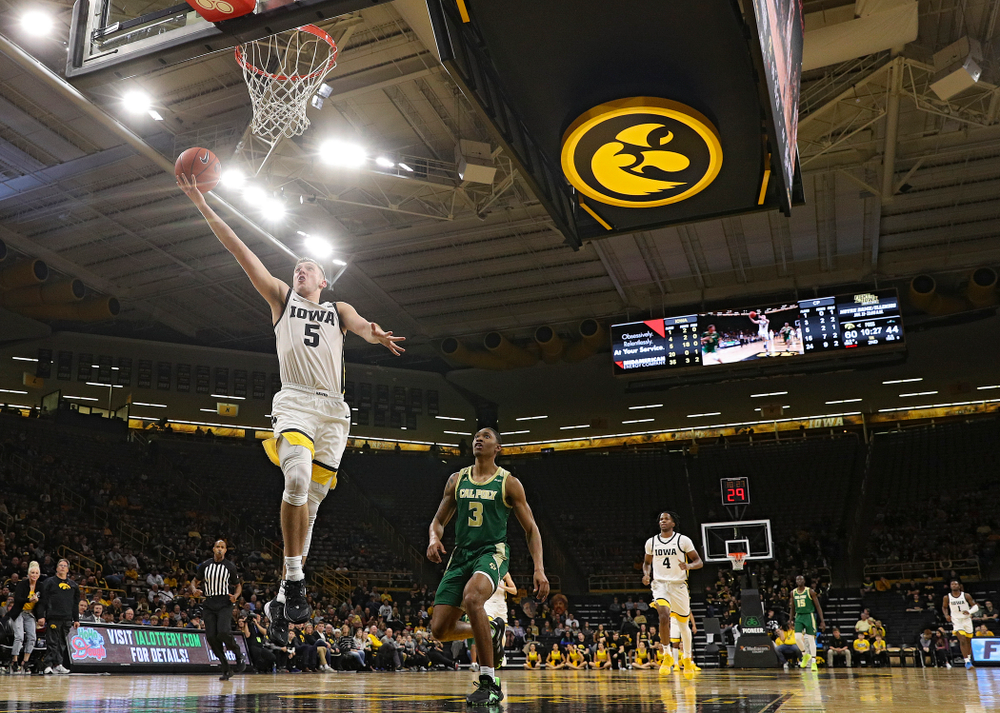Iowa Hawkeyes guard CJ Fredrick (5) scores a basket during the second half of their game at Carver-Hawkeye Arena in Iowa City on Sunday, Nov 24, 2019. (Stephen Mally/hawkeyesports.com)