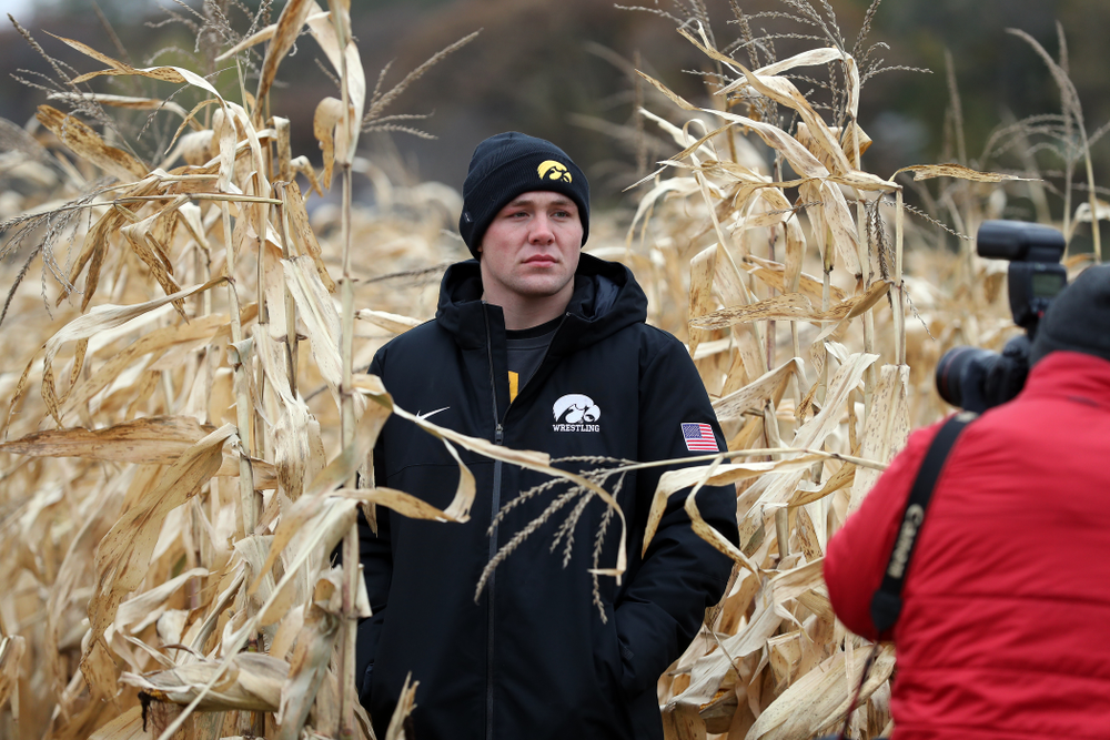 All American Jacob Warner answers questions from reporters during the teamÕs annual media day Wednesday, October 30, 2019 at Kroul Family Farms in Mount Vernon. (Brian Ray/hawkeyesports.com)