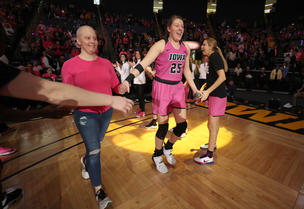 Iowa Hawkeyes forward/center Monika Czinano (25) is introduced before their game against the Wisconsin Badgers Sunday, February 16, 2020 at Carver-Hawkeye Arena. (Brian Ray/hawkeyesports.com)