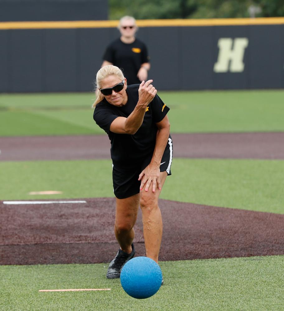 Head Softball Coach Renee Gillispie during the Iowa Student Athlete Kickoff Kickball game  Sunday, August 19, 2018 at Duane Banks Field. (Brian Ray/hawkeyesports.com)