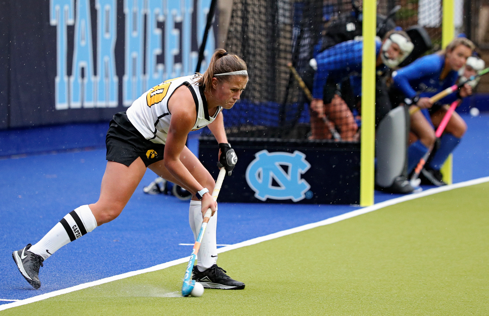 Iowa's Sophie Sunderland (20) starts off a penalty corner during the second quarter of their NCAA Tournament First Round match against Duke at Karen Shelton Stadium in Chapel Hill, N.C. on Friday, Nov 15, 2019. (Stephen Mally/hawkeyesports.com)
