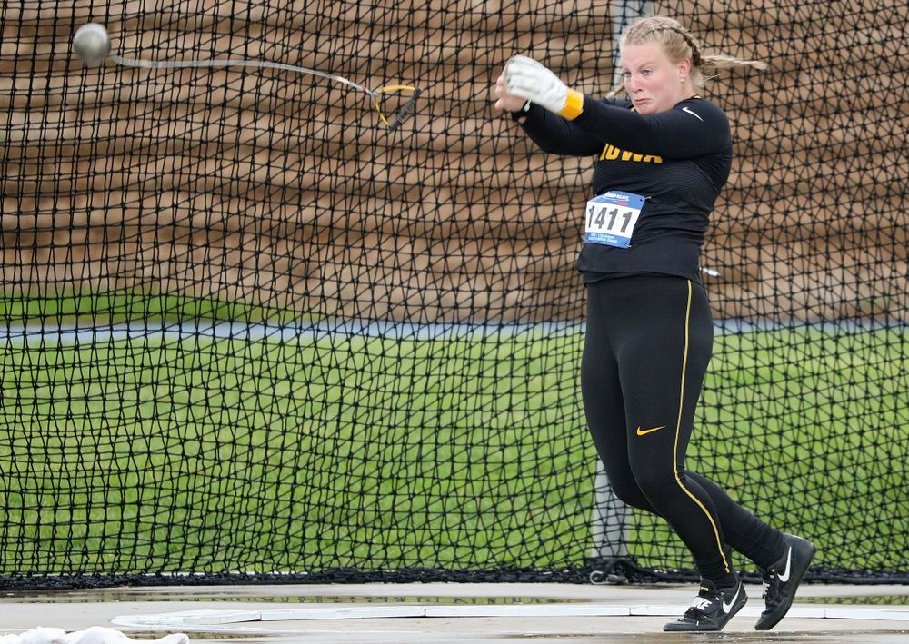 Iowa's Allison Wahrman throws during the women's hammer event during the third day of the Drake Relays at Drake Stadium in Des Moines on Saturday, Apr. 27, 2019. (Stephen Mally/hawkeyesports.com)