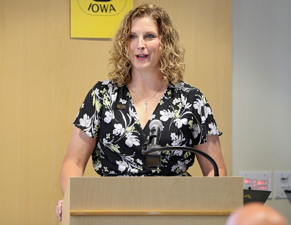 Barb Randall, Iowa Varsity Club Co-Chair, speaks during the press conference to discuss FryFEST and announce the 2019 Iowa Athletics Hall of Fame members in the Varsity Club Room at the University of Iowa Athletics Hall of Fame in Iowa City on Tuesday, Jun 11, 2019. (Stephen Mally/hawkeyesports.com)