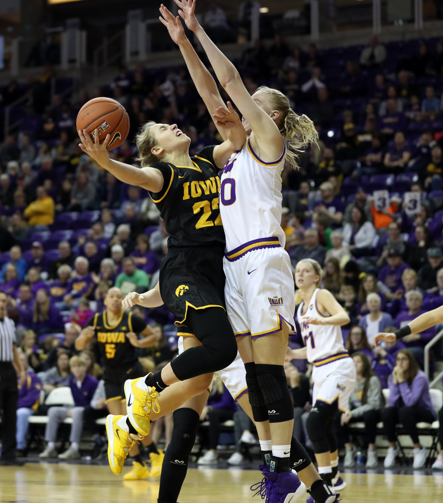 Iowa Hawkeyes guard Kathleen Doyle (22) against Northern Iowa Sunday, November 17, 2019 at the McLeod Center. (Brian Ray/hawkeyesports.com)